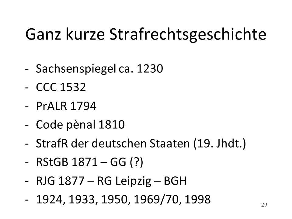 Ganz kurze Strafrechtsgeschichte -Sachsenspiegel ca. 1230 -CCC 1532 -PrALR 1794 -Code pènal 1810 -StrafR der deutschen Staaten (19. Jhdt.) -RStGB 1871
