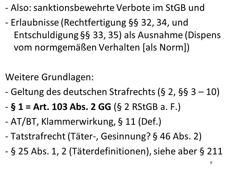 - Also: sanktionsbewehrte Verbote im StGB und - Erlaubnisse (Rechtfertigung §§ 32, 34, und Entschuldigung §§ 33, 35) als Ausnahme (Dispens vom normgemäßen Verhalten [als Norm]) Weitere Grundlagen: - Geltung des deutschen Strafrechts (§ 2, §§ 3 – 10) - § 1 = Art.
