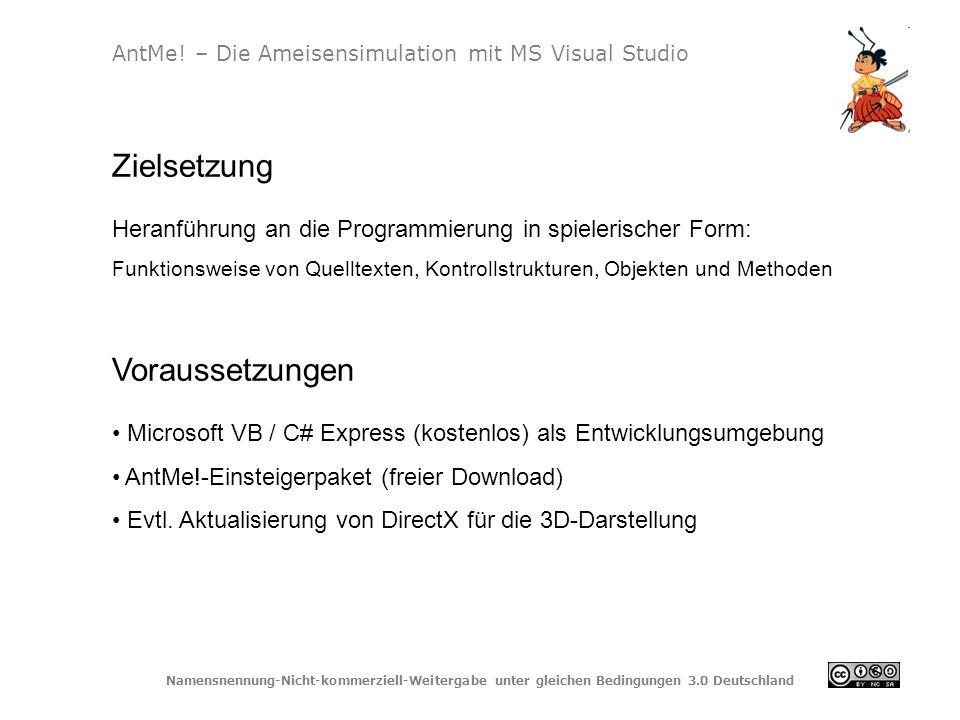 Namensnennung-Nicht-kommerziell-Weitergabe unter gleichen Bedingungen 3.0 Deutschland AntMe! – Die Ameisensimulation mit MS Visual Studio Zielsetzung