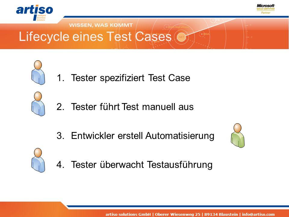 artiso solutions GmbH | Oberer Wiesenweg 25 | 89134 Blaustein | info@artiso.com Lifecycle eines Test Cases 1.Tester spezifiziert Test Case 2.Tester führt Test manuell aus 3.Entwickler erstell Automatisierung 4.Tester überwacht Testausführung