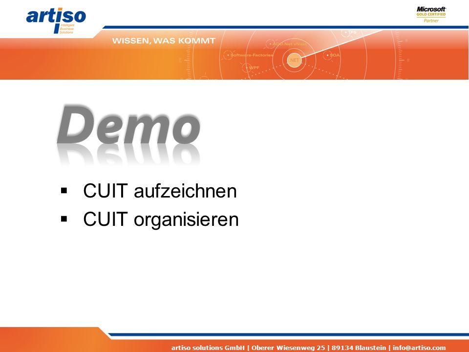 artiso solutions GmbH | Oberer Wiesenweg 25 | 89134 Blaustein | info@artiso.com  CUIT aufzeichnen  CUIT organisieren