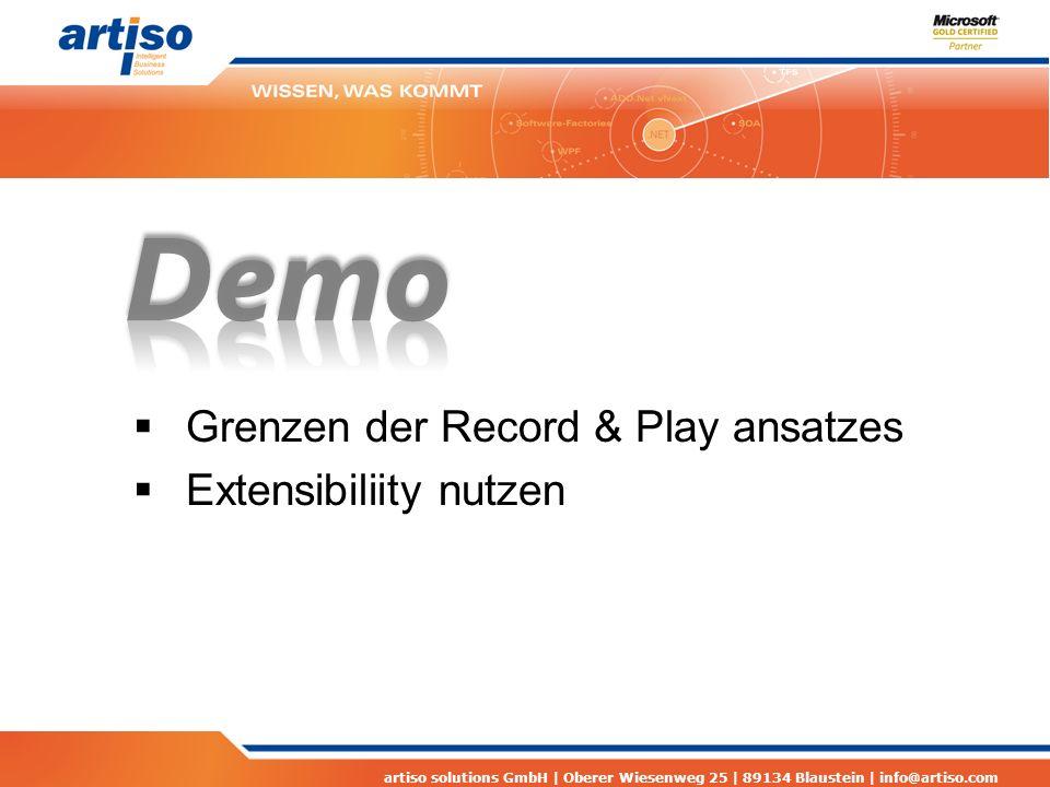 artiso solutions GmbH | Oberer Wiesenweg 25 | 89134 Blaustein | info@artiso.com Links Coded UI Tests Snoop http://snoopwpf.codeplex.com http://snoopwpf.codeplex.com Bildvergleichs-Bibliothek http://testapi.codeplex.com/ http://testapi.codeplex.com/ MSDN: Testing the User Interface with Automated UI Tests http://msdn.microsoft.com/en-us/library/dd286726.aspx http://msdn.microsoft.com/en-us/library/dd286726.aspx MSDN: Best Practices for Coded UI Tests http://msdn.microsoft.com/en-us/library/dd380782.aspx http://msdn.microsoft.com/en-us/library/dd380782.aspx