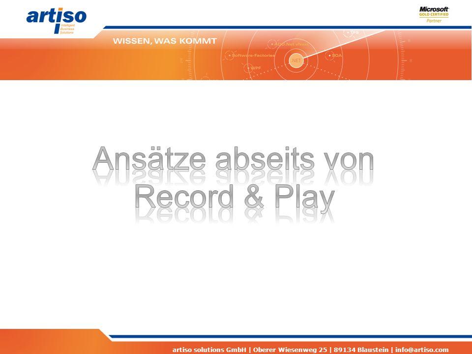 artiso solutions GmbH | Oberer Wiesenweg 25 | 89134 Blaustein | info@artiso.com Links Lab Management Webcast zum Lab Management http://www.microsoft.com/germany/msdn/webcasts/librar y.aspx?id=1032476976 http://www.microsoft.com/germany/msdn/webcasts/librar y.aspx?id=1032476976 Demo Image für Lab Management http://www.microsoft.com/downloads/en/details.aspx?Fa milyID=592e874d-8fcd-4665-8e55- 7da0d44b0dee&displaylang=en http://www.microsoft.com/downloads/en/details.aspx?Fa milyID=592e874d-8fcd-4665-8e55- 7da0d44b0dee&displaylang=en VM Prep Tool http://code.msdn.microsoft.com/vslabmgmt http://code.msdn.microsoft.com/vslabmgmt