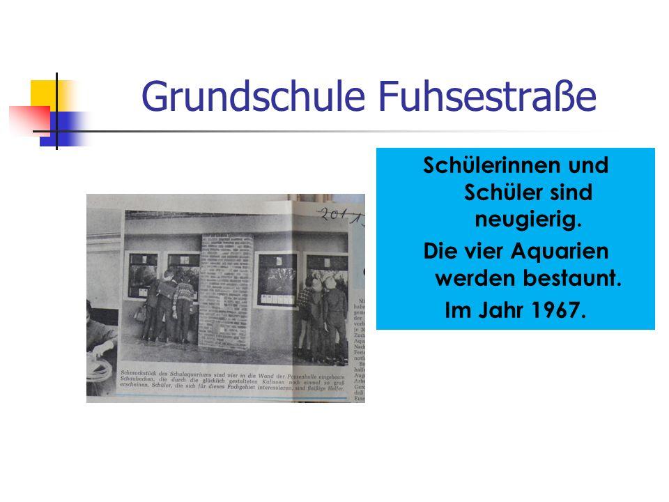 Grundschule Fuhsestraße Schülerinnen und Schüler sind neugierig. Die vier Aquarien werden bestaunt. Im Jahr 1967.