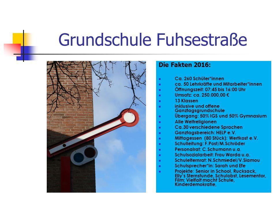 Grundschule Fuhsestraße Die Fakten 2016: Ca. 260 Schüler*innen ca. 50 Lehrkräfte und Mitarbeiter*innen Öffnungszeit: 07:45 bis 16:00 Uhr Umsatz: ca. 2