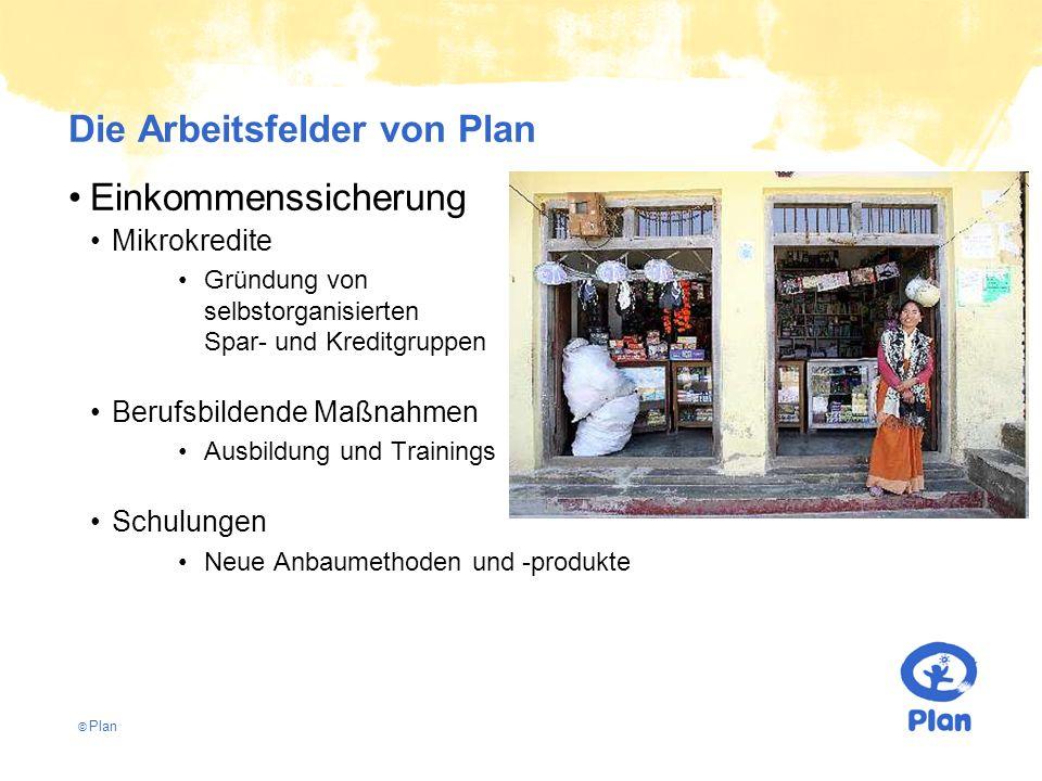© Plan Die Arbeitsfelder von Plan Einkommenssicherung Mikrokredite Gründung von selbstorganisierten Spar- und Kreditgruppen Berufsbildende Maßnahmen Ausbildung und Trainings Schulungen Neue Anbaumethoden und -produkte