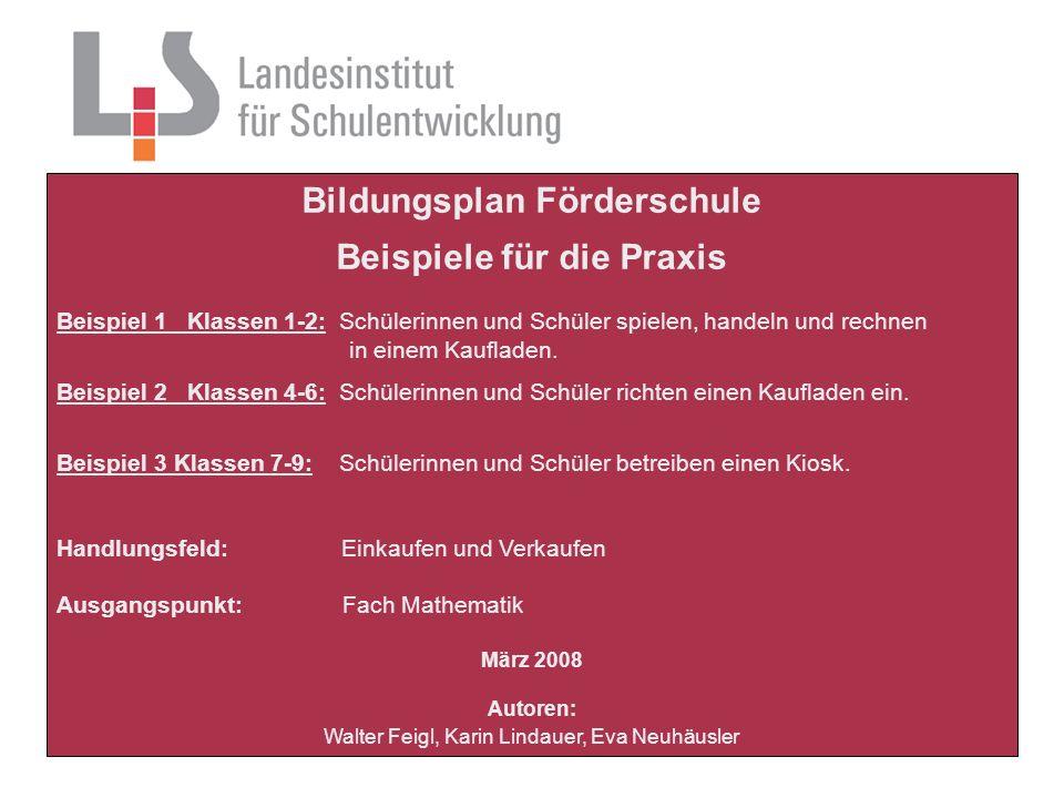 Bildungsplan Förderschule, Beispiele für die Praxis Walter Feigl, Karin Lindauer, Eva Neuhäusler Platzhalter Puh, das ist aber staubig.