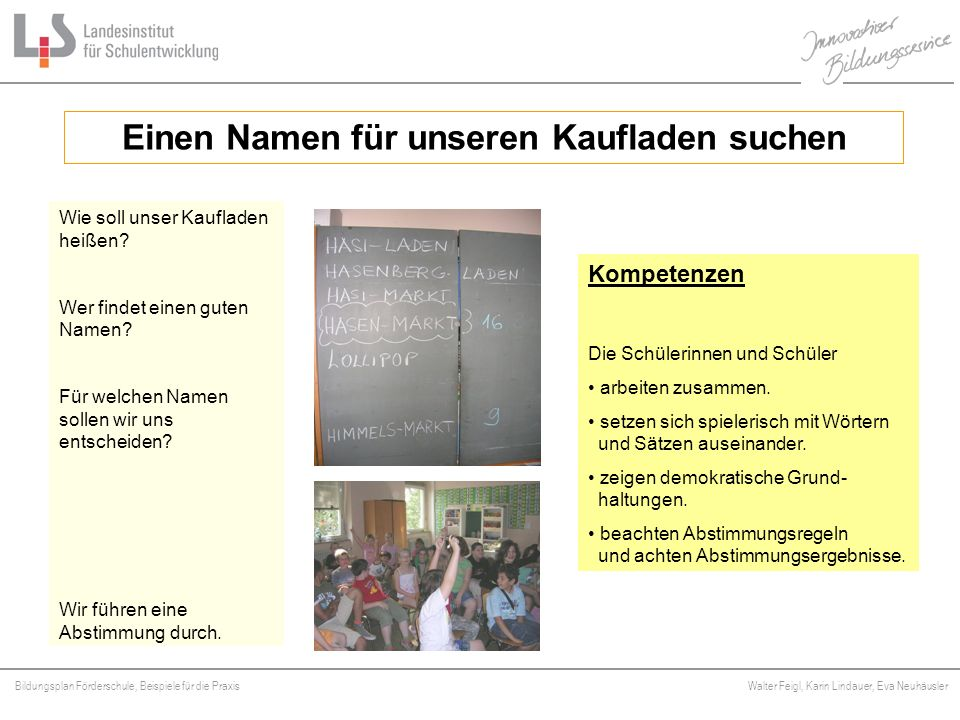 Bildungsplan Förderschule, Beispiele für die Praxis Walter Feigl, Karin Lindauer, Eva Neuhäusler Platzhalter Wie soll unser Kaufladen heißen? Wer find