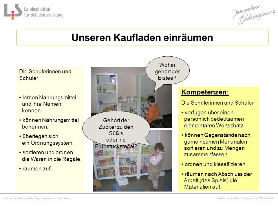 Bildungsplan Förderschule, Beispiele für die Praxis Walter Feigl, Karin Lindauer, Eva Neuhäusler Platzhalter Unseren Kaufladen einräumen Kompetenzen:
