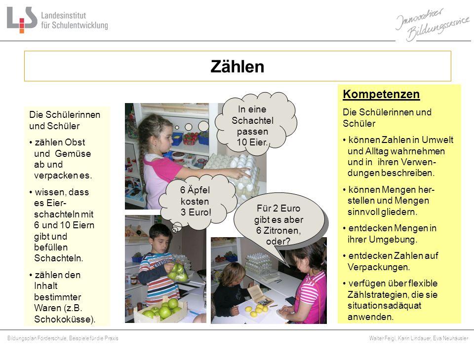 Bildungsplan Förderschule, Beispiele für die Praxis Walter Feigl, Karin Lindauer, Eva Neuhäusler Platzhalter Zählen Kompetenzen Die Schülerinnen und S