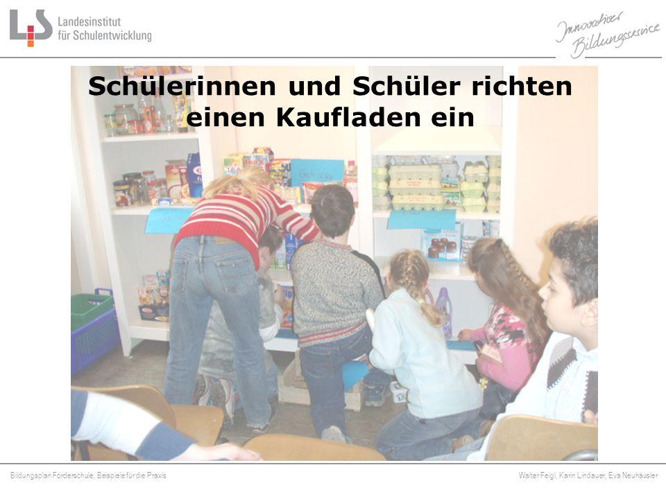 Bildungsplan Förderschule, Beispiele für die Praxis Walter Feigl, Karin Lindauer, Eva Neuhäusler Platzhalter Schülerinnen und Schüler richten einen Ka