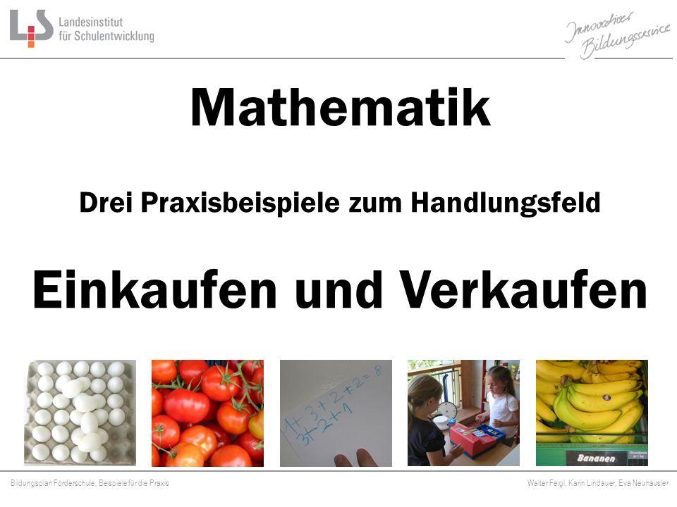 Bildungsplan Förderschule, Beispiele für die Praxis Walter Feigl, Karin Lindauer, Eva Neuhäusler Platzhalter Mathematikunterricht geht - wo immer möglich - von realen Situationen aus dem Schulleben, der Umwelt und dem Alltag aus.