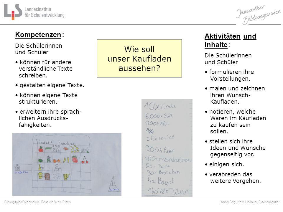 Bildungsplan Förderschule, Beispiele für die Praxis Walter Feigl, Karin Lindauer, Eva Neuhäusler Platzhalter Wie soll unser Kaufladen aussehen? Kompet
