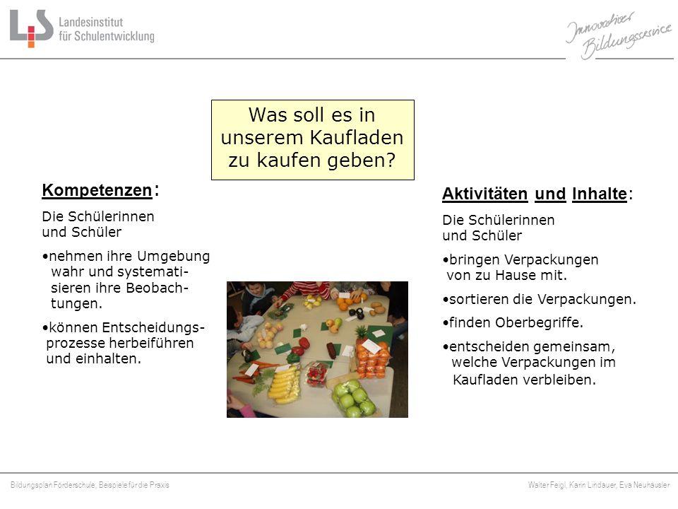 Bildungsplan Förderschule, Beispiele für die Praxis Walter Feigl, Karin Lindauer, Eva Neuhäusler Platzhalter Was soll es in unserem Kaufladen zu kaufe