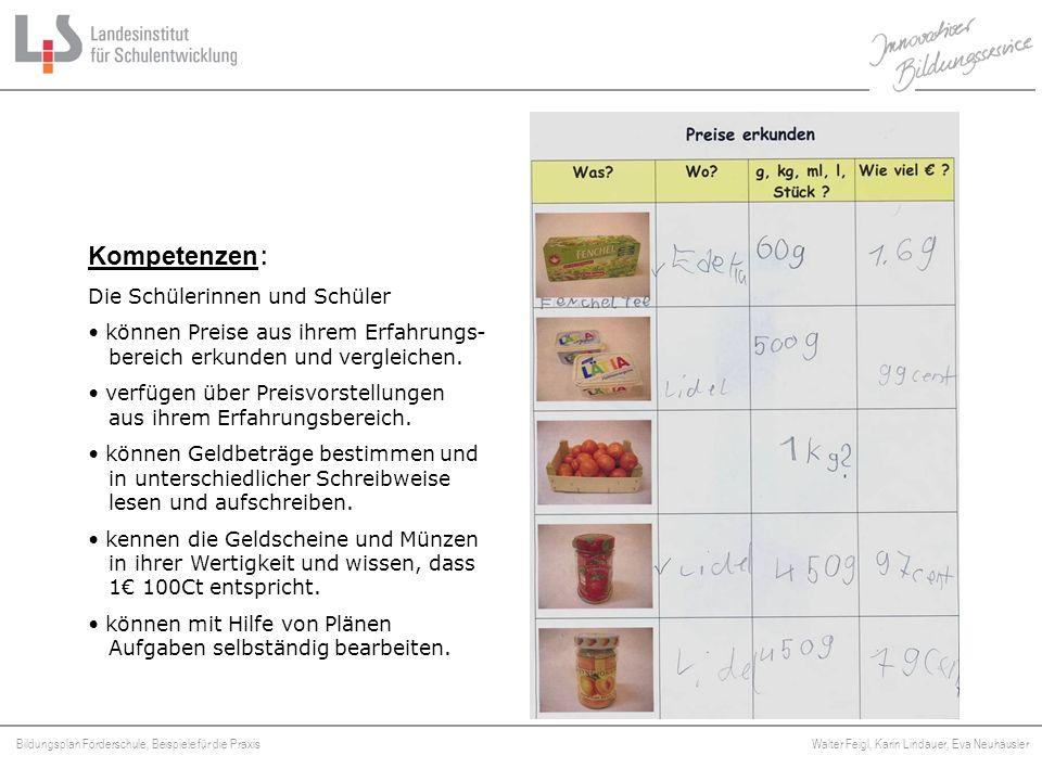 Bildungsplan Förderschule, Beispiele für die Praxis Walter Feigl, Karin Lindauer, Eva Neuhäusler Platzhalter Kompetenzen : Die Schülerinnen und Schüle