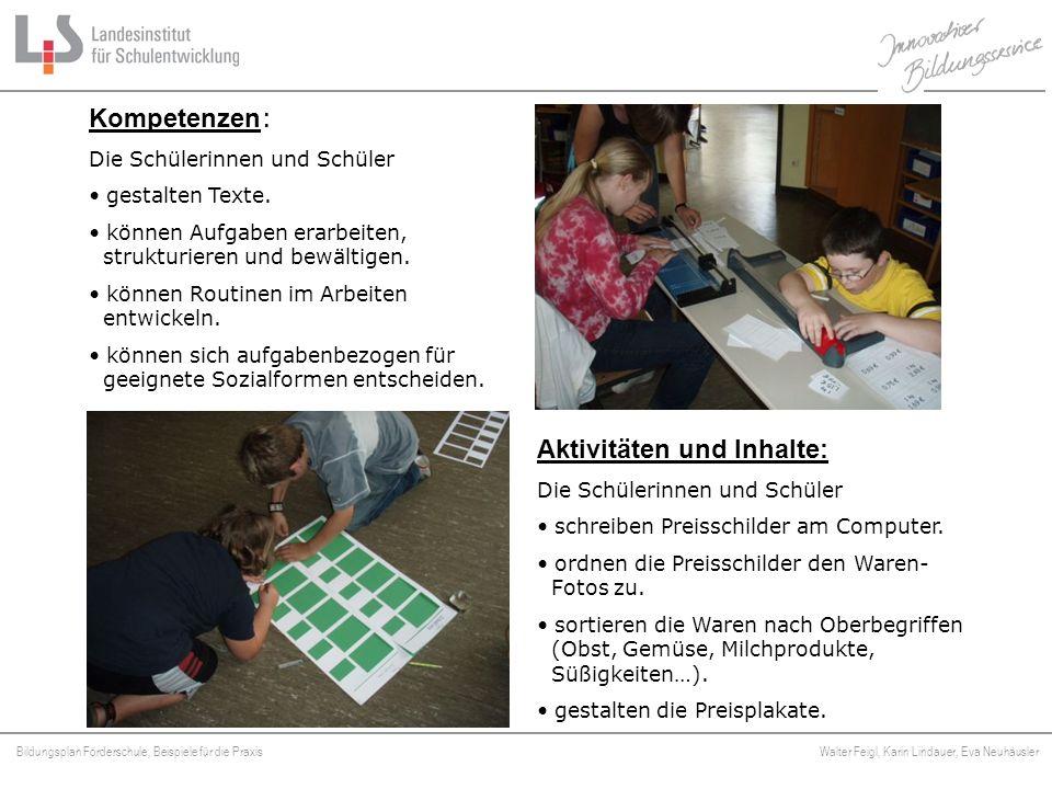 Bildungsplan Förderschule, Beispiele für die Praxis Walter Feigl, Karin Lindauer, Eva Neuhäusler Platzhalter Aktivitäten und Inhalte: Die Schülerinnen