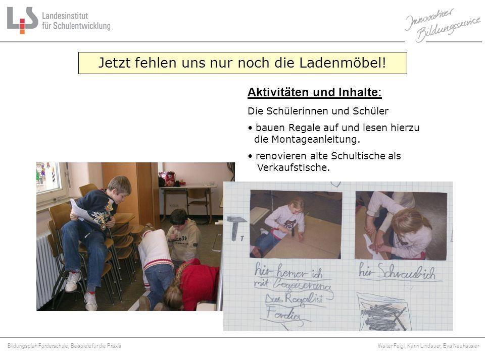 Bildungsplan Förderschule, Beispiele für die Praxis Walter Feigl, Karin Lindauer, Eva Neuhäusler Platzhalter Jetzt fehlen uns nur noch die Ladenmöbel!