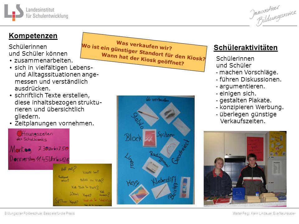Bildungsplan Förderschule, Beispiele für die Praxis Walter Feigl, Karin Lindauer, Eva Neuhäusler Platzhalter Schülerinnen und Schüler - machen Vorschl