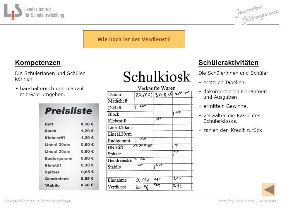 Bildungsplan Förderschule, Beispiele für die Praxis Walter Feigl, Karin Lindauer, Eva Neuhäusler Platzhalter Kompetenzen Die Schülerinnen und Schüler