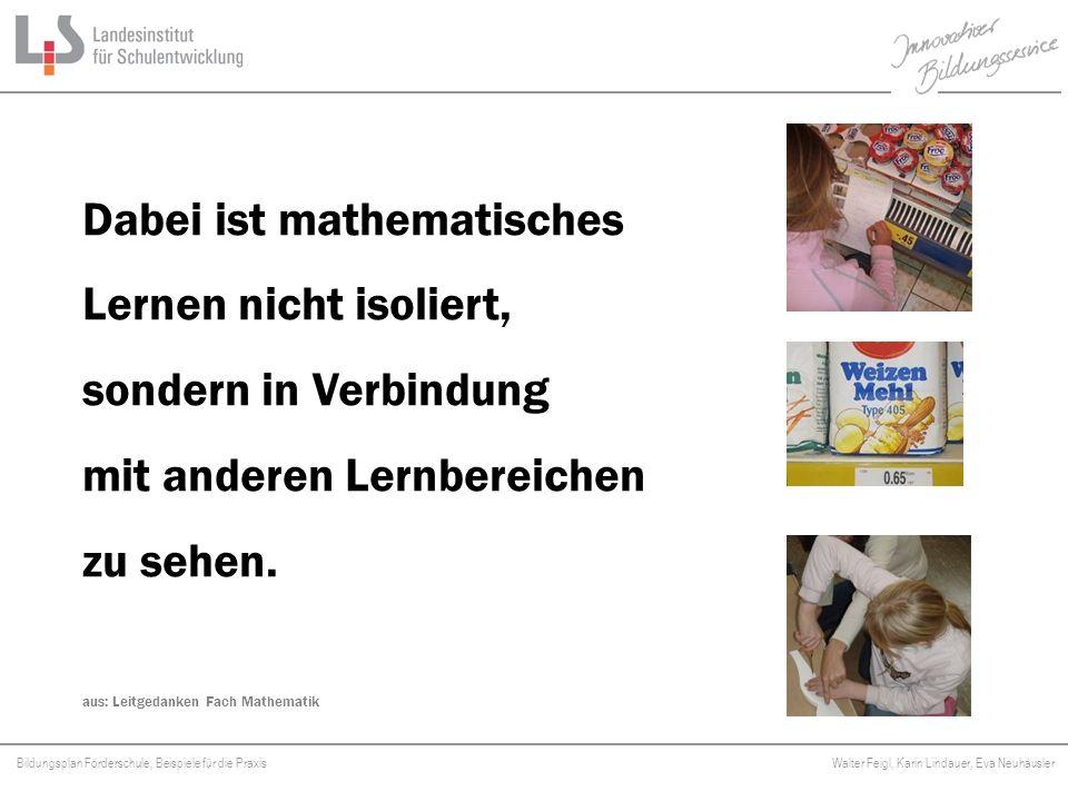 Bildungsplan Förderschule, Beispiele für die Praxis Walter Feigl, Karin Lindauer, Eva Neuhäusler Platzhalter Somit wird Mathematisieren zum Unterrichtsprinzip.