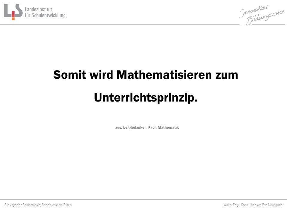 Bildungsplan Förderschule, Beispiele für die Praxis Walter Feigl, Karin Lindauer, Eva Neuhäusler Platzhalter Somit wird Mathematisieren zum Unterricht