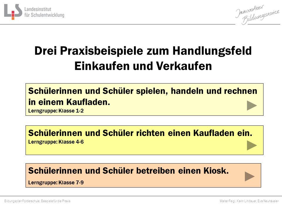 Bildungsplan Förderschule, Beispiele für die Praxis Walter Feigl, Karin Lindauer, Eva Neuhäusler Platzhalter Schüleraktivitäten Die Schülerinnen und Schüler erkunden und vergleichen Preise in verschiedenen Geschäften.