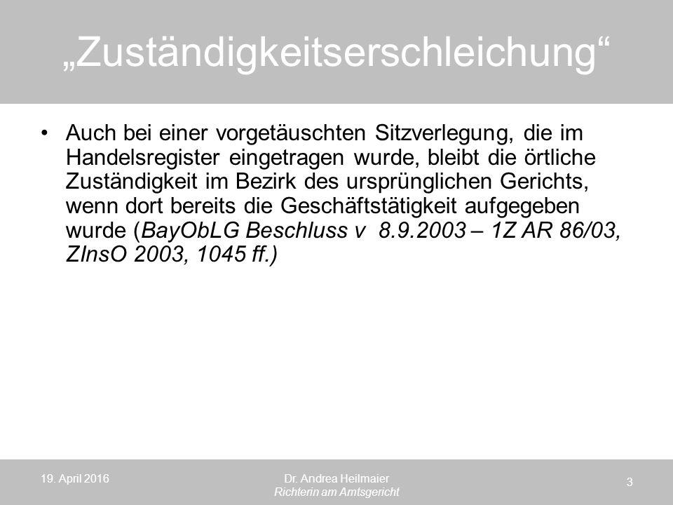 """""""Zuständigkeitserschleichung 19. April 2016 3 Dr."""
