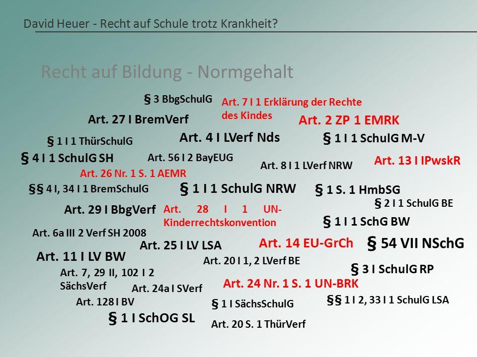 David Heuer - Recht auf Schule trotz Krankheit. Art.