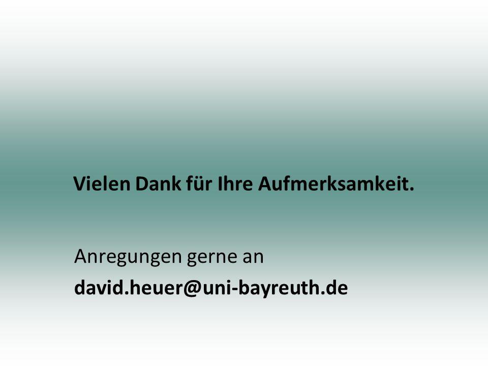Vielen Dank für Ihre Aufmerksamkeit. Anregungen gerne an david.heuer@uni-bayreuth.de