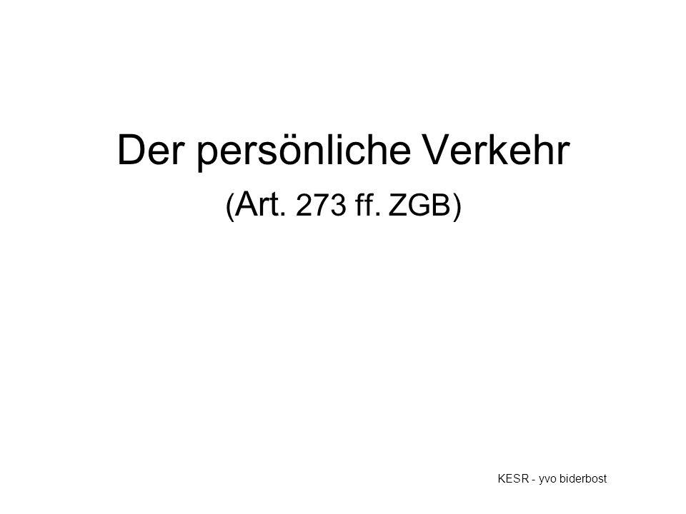 Der persönliche Verkehr ( Art. 273 ff. ZGB) KESR - yvo biderbost