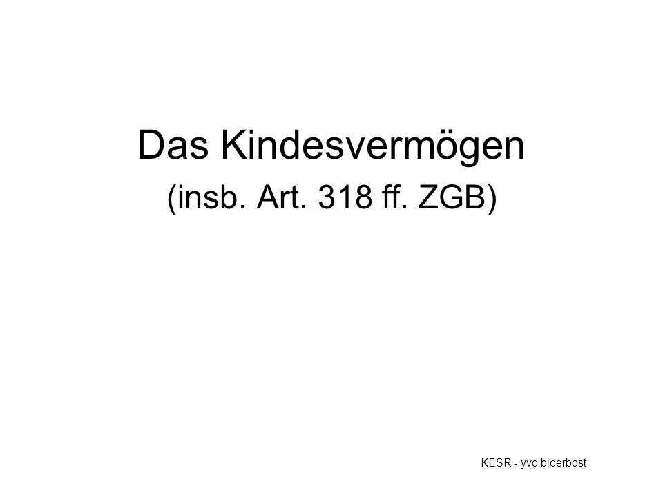 Das Kindesvermögen (insb. Art. 318 ff. ZGB) KESR - yvo biderbost