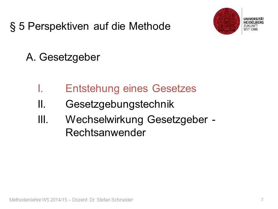 Juristische Methodenlehre Dritter Teil: Anwendungsfragen Methodenlehre WS 2014/15 – Dozent: Dr.
