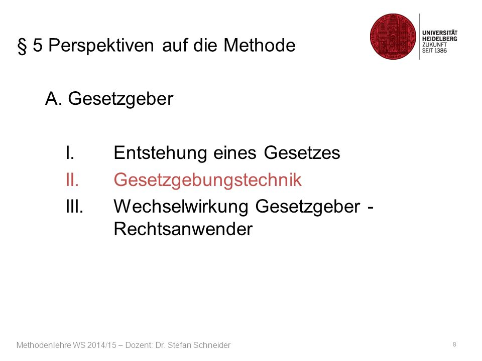 § 5 Perspektiven auf die Methode A.