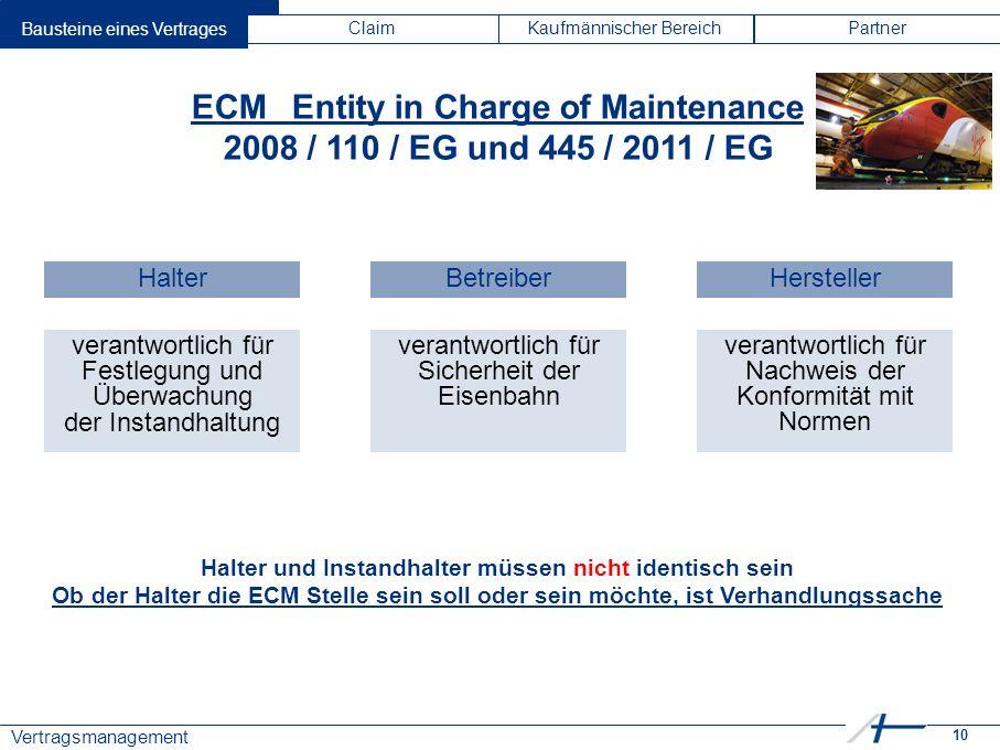 10 Vertragsmanagement Bausteine eines VertragesClaimKaufmännischer BereichPartner ECMEntity in Charge of Maintenance 2008 / 110 / EG und 445 / 2011 /
