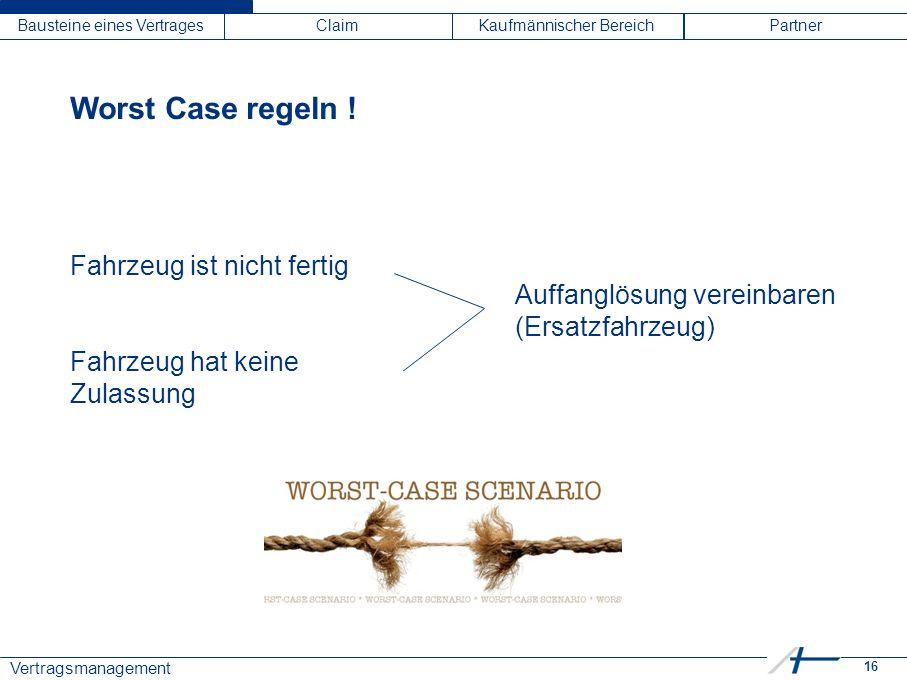 16 Vertragsmanagement Bausteine eines VertragesClaimKaufmännischer BereichPartner Worst Case regeln ! Fahrzeug ist nicht fertig Fahrzeug hat keine Zul