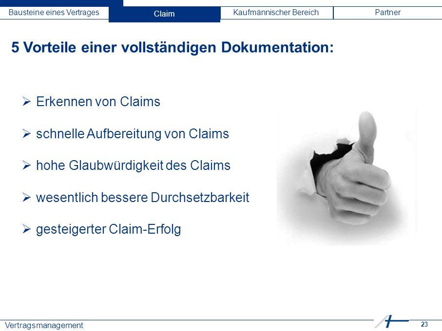 23 Vertragsmanagement Bausteine eines VertragesClaimKaufmännischer BereichPartner 5 Vorteile einer vollständigen Dokumentation:  Erkennen von Claims