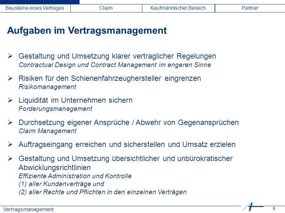 5 Vertragsmanagement Bausteine eines VertragesClaimKaufmännischer BereichPartner Aufgaben im Vertragsmanagement  Gestaltung und Umsetzung klarer vert