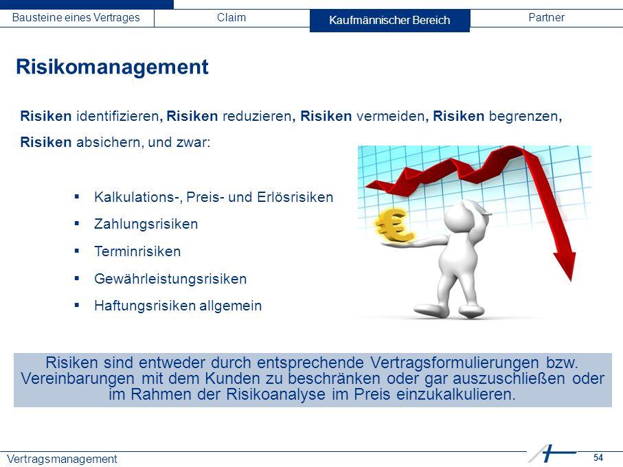 54 Vertragsmanagement Bausteine eines VertragesClaimKaufmännischer BereichPartner Risiken identifizieren, Risiken reduzieren, Risiken vermeiden, Risik