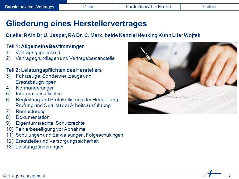 8 Vertragsmanagement Bausteine eines VertragesClaimKaufmännischer BereichPartner Gliederung eines Herstellervertrages Quelle: RAin Dr U. Jasper, RA Dr