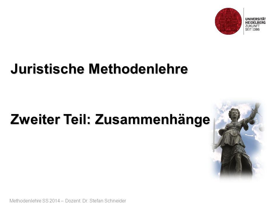Juristische Methodenlehre Zweiter Teil: Zusammenhänge Methodenlehre SS 2014 – Dozent: Dr. Stefan Schneider