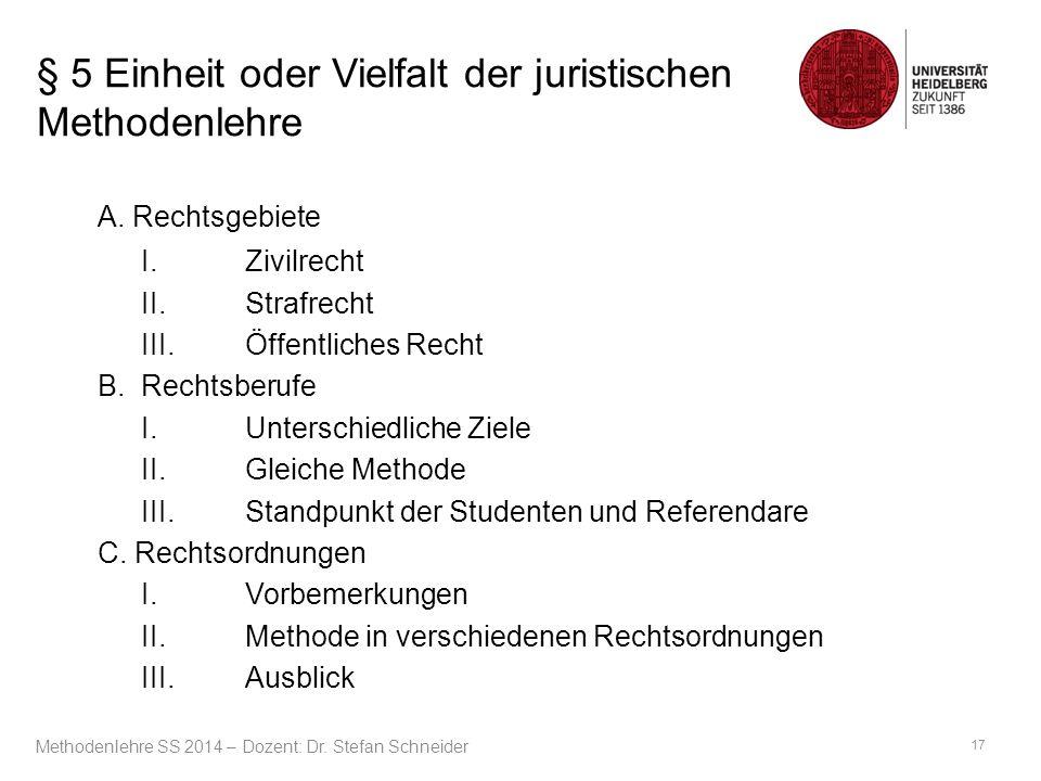 § 5 Einheit oder Vielfalt der juristischen Methodenlehre A. Rechtsgebiete I.Zivilrecht II.Strafrecht III.Öffentliches Recht B.Rechtsberufe I.Unterschi