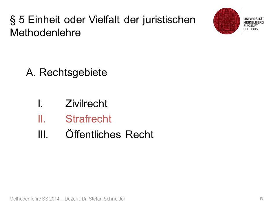 § 5 Einheit oder Vielfalt der juristischen Methodenlehre A. Rechtsgebiete I.Zivilrecht II.Strafrecht III.Öffentliches Recht 19 Methodenlehre SS 2014 –