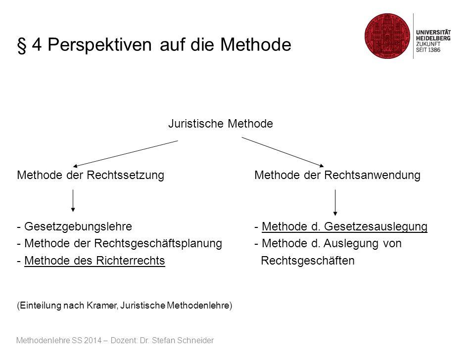 § 4 Perspektiven auf die Methode Juristische Methode Methode der Rechtssetzung Methode der Rechtsanwendung - Gesetzgebungslehre- Methode d. Gesetzesau
