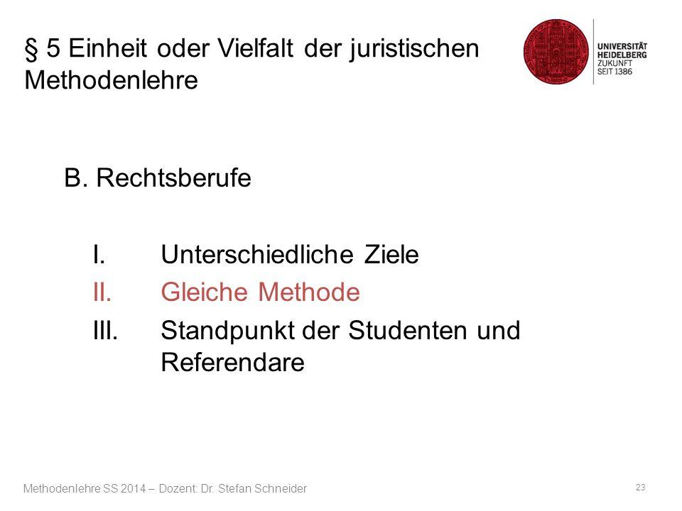 § 5 Einheit oder Vielfalt der juristischen Methodenlehre B. Rechtsberufe I.Unterschiedliche Ziele II.Gleiche Methode III.Standpunkt der Studenten und