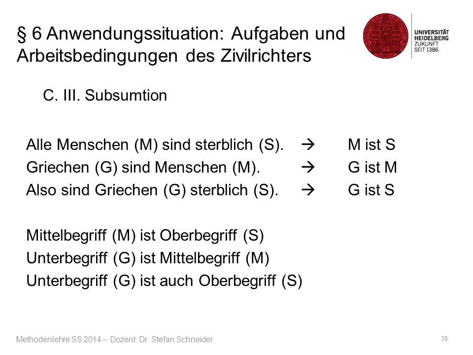 § 6 Anwendungssituation: Aufgaben und Arbeitsbedingungen des Zivilrichters C. III. Subsumtion Alle Menschen (M) sind sterblich (S).  M ist S Griechen