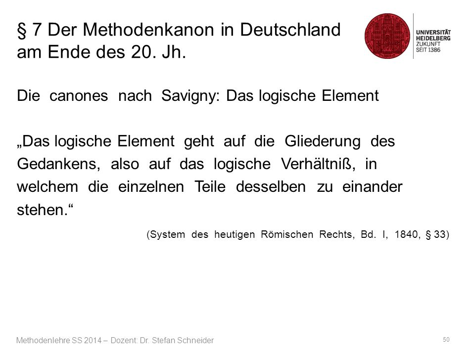 """§ 7 Der Methodenkanon in Deutschland am Ende des 20. Jh. Die canones nach Savigny: Das logische Element """"Das logische Element geht auf die Gliederung"""
