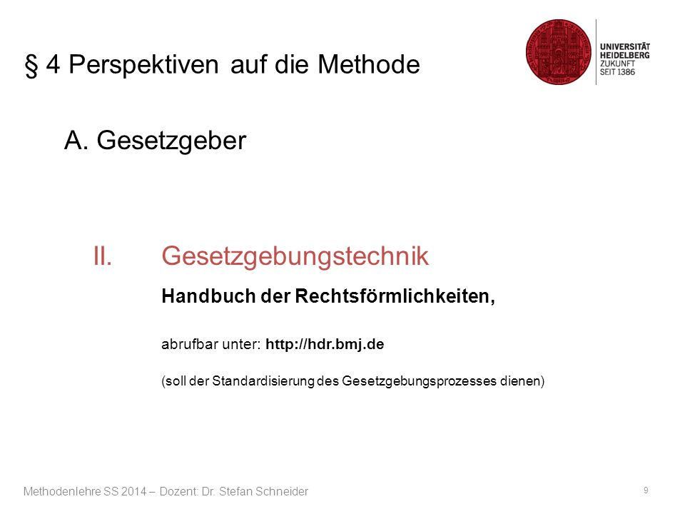 § 4 Perspektiven auf die Methode A. Gesetzgeber II.Gesetzgebungstechnik Handbuch der Rechtsförmlichkeiten, abrufbar unter: http://hdr.bmj.de (soll der