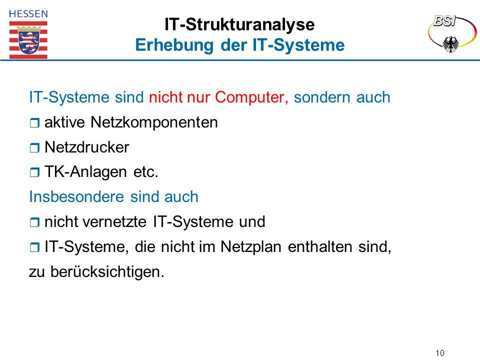 10 IT-Strukturanalyse Erhebung der IT-Systeme IT-Systeme sind nicht nur Computer, sondern auch  aktive Netzkomponenten  Netzdrucker  TK-Anlagen etc