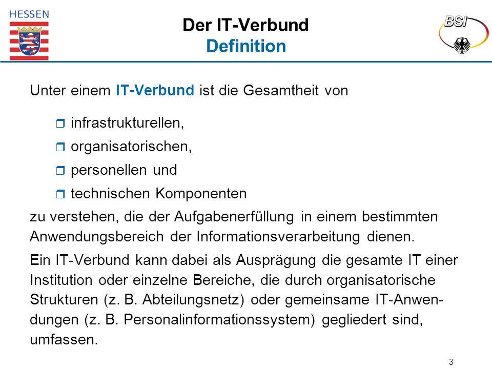 3 Der IT-Verbund Definition Unter einem IT-Verbund ist die Gesamtheit von  infrastrukturellen,  organisatorischen,  personellen und  technischen K