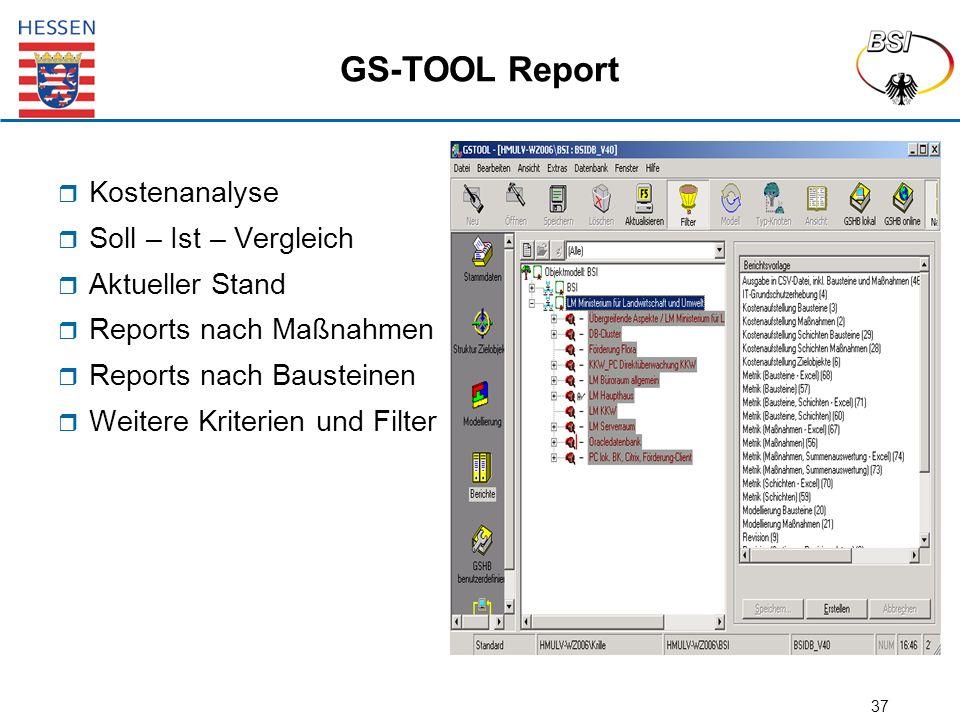 37 GS-TOOL Report  Kostenanalyse  Soll – Ist – Vergleich  Aktueller Stand  Reports nach Maßnahmen  Reports nach Bausteinen  Weitere Kriterien und Filter